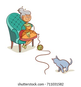 Cartoon grandmother sits on armchair and knits socks. The cat playing with a ball of yarn. Vector illustration