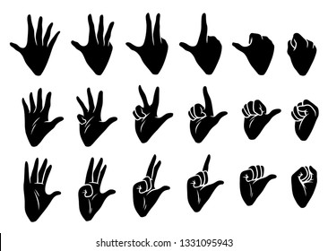 Cartoon graphic black silhouette human hands. Showing fingers and knuckles gesture or sign. Isolated on white background. Vector icons set.