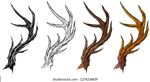 Cartoon graphic colorful detailed big deer horns or antlers. Hunting trophy. Isolated on white background. Vector icon set.