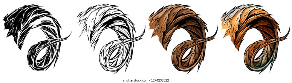 Cartoon graphic colorful detailed big sharp ram or goat horns or antlers. Hunting trophy. Isolated on white background. Vector icon set.