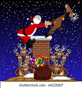cartoon graphic depicting Santa Claus being pulled up a chimney by a reindeer