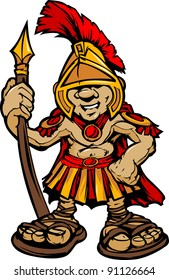 Cartoon Graphic of a Greek Spartan or Trojan Mascot holding a Spear
