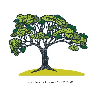 Cartoon graphic green tree on a white background.