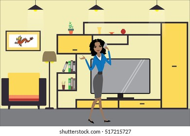 Cartoon graphic living room interior design with furniture,woman with smart phone,flat vector illustration