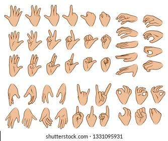 Cartoon graphic white human hands. Showing different gesture or sign. Rock and roll, okay, forefinger, palm and knuckle. Isolated on white background. Vector icons big set.