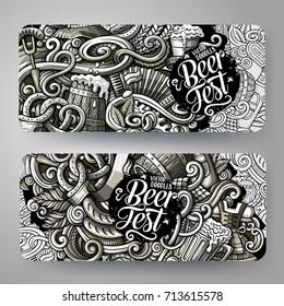 Cartoon graphics monochrome vector hand drawn doodles Oktoberfest corporate identity. 2 id cards design. Templates set