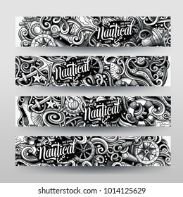 Cartoon graphics vector hand drawn doodles nautical corporate identity. 4 horizontal banners design. Templates set