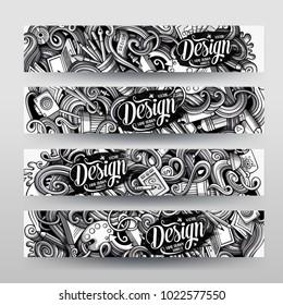 Cartoon graphics vector hand drawn doodles Designer corporate identity. 4 horizontal banners design. Templates set