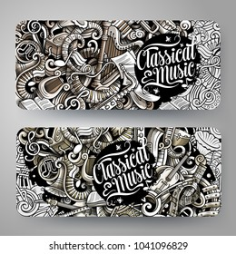 Cartoon graphics vector hand drawn doodles Classic Music corporate identity. 2 horizontal banners design. Templates set