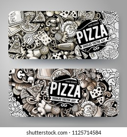 Cartoon graphics vector hand drawn doodles Pizza corporate identity. 2 horizontal banners design. Templates set