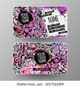 Cartoon graphics watercolor vector hand drawn doodles Music corporate identity. 2 id cards design. Templates set