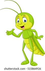 Cartoon grasshopper presenting