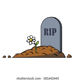 Cartoon grave with tombstone and flower. Vector illustration