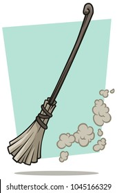 Cartoon gray broom cleaner with wooden handle and dust on blue background. Vector icon.