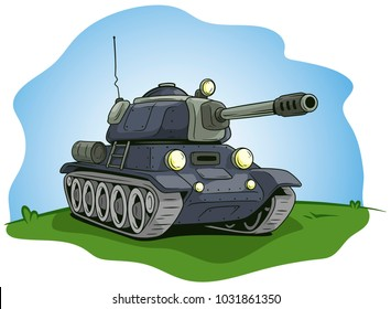 Cartoon gray military army large tank with antenna on green lawn background. Vector icon.
