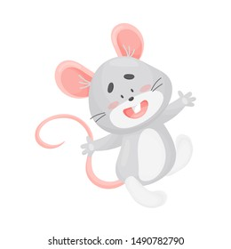 Cartoon gray mouse. Vector illustration on a white background.