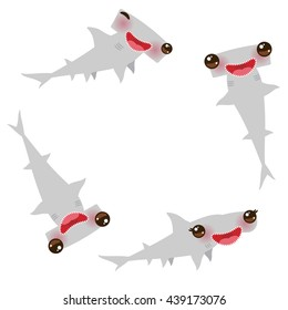 Cartoon gray Smooth hammerhead Winghead shark Kawaii with pink cheeks and winking eyes positive smiling on white background. Vector