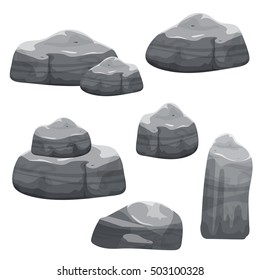 Cartoon gray stones set, different shape rock collection, vector nature landscape elements, game location assets, isolated on white.