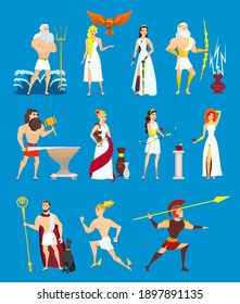 Cartoon Greek Gods set. Ancient Olympian heroes isolated on blue background. Poseidon, Zeus, Hephaestus, Ares, Hermes, Athene, Aphrodite, Hades, Demeter, Artemis. Flat vector illustration