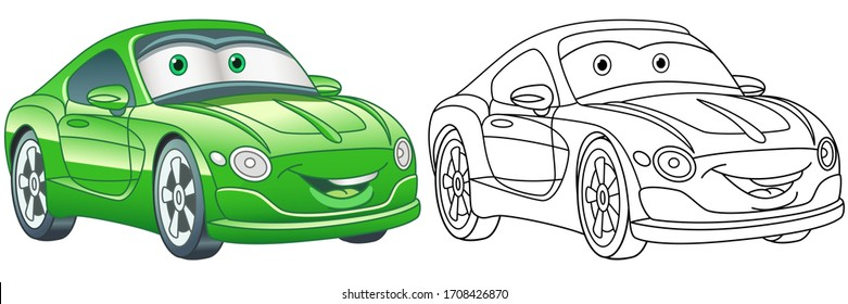 Cartoon green car. Coloring page and colorful clipart character. Cute design for t shirt print, icon, logo, label, patch or sticker. Vector illustration.