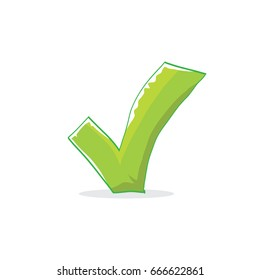 cartoon Green check mark icon isolated on white.
