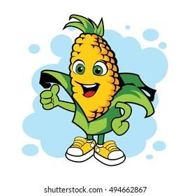 Cartoon green corn. Vector mascot.