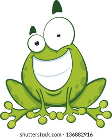 Cartoon green frog grinning