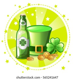 Cartoon green hat, clover and beer bottle, set greeting card for St. Patrick s Day