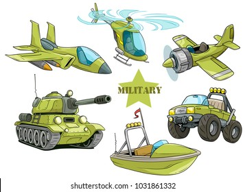 Cartoon green military army vehicles and aircrafts. Tank and car. Jet Fighter and helicopter. Boat and retro airplane. Vector icon set.