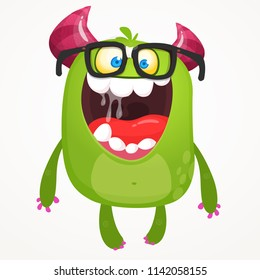 Cartoon green monster nerd wearing glasses. Vector troll or goblin oar alien illustration isolated