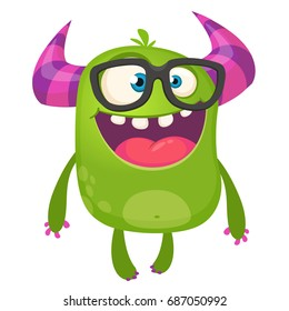 Cartoon green monster nerd wearing glasses. Vector illustration isolated