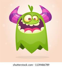 Cartoon green monster. Monster troll illustration with surprised expression. Shocking green gremlin mascot design. Vector Halloween illustration