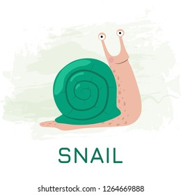 A cartoon green snail on a green watercolor background. Vector illustration EPS10