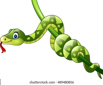 Cartoon green snake on vine