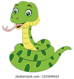 Cartoon green snake - Vector