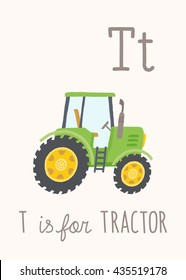 Cartoon green tractor. ABC Kids Wall Art. Alphabet Card. Nursery alphabet poster wall art. Playroom decor. T is for Tractor. Vector clipart eps 10 hand drawn illustration isolated on white background.