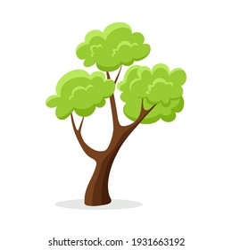 Cartoon green tree isolated on white background.