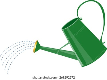 A cartoon green watering can with water sprinkler