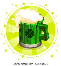 Cartoon green wooden beer mug, set greeting card for St. Patrick s Day