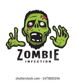 Cartoon green zombie, outbreak infection, emblem.