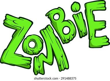Cartoon green zombie word isolated