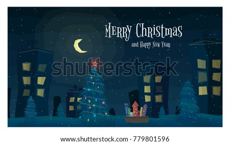 Cartoon Greeting Card. Festive Winter Landscape. Night Town with Christmas Trees, Lights and Fireworks, Houses with Garlands. Big Moon and Falling Snow. Flat Vector Illustration.