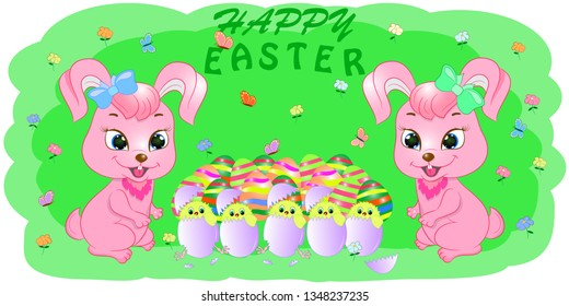 cartoon greeting card rabbits with easter egs vector illustration. Cute chicken with eggs on the meadow.Greeting Easter Card Cute Cartoon Bunny and Chicken in the egg. Flowers and Butterflies.