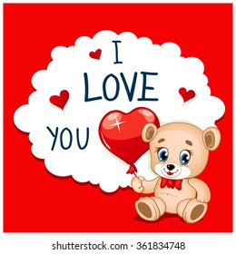 Cartoon Greeting Card Valentine's Day. Teddy bear holding a heart shaped balloon. Text in the frame. Vintage traditional colors. Easy to edit.