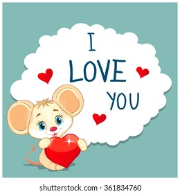 Cartoon Greeting Card Valentine's Day. Picture a cute little mouse holding a balloon in the shape of a heart. Text in the frame in the form of cloud