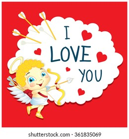 Cartoon Greeting Card Valentine's Day. Image of funny Cupid on a cloud.