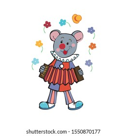 A cartoon grey mouse clown juggles flowers.Vector illustration on white background for your design.
