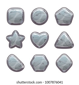 Cartoon grey stone assets for web or game design. Rock signs set, vector icons isolated on white background.