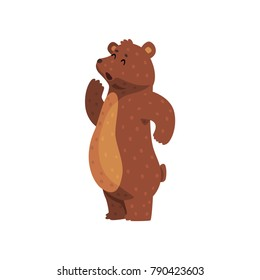 Cartoon grizzly bear calling up for someone. Cute animal with brown fur, small ears and short tail. Wild forest creature. Flat vector for children s book, print, sticker