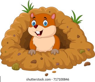 Cartoon groundhog looking out of hole